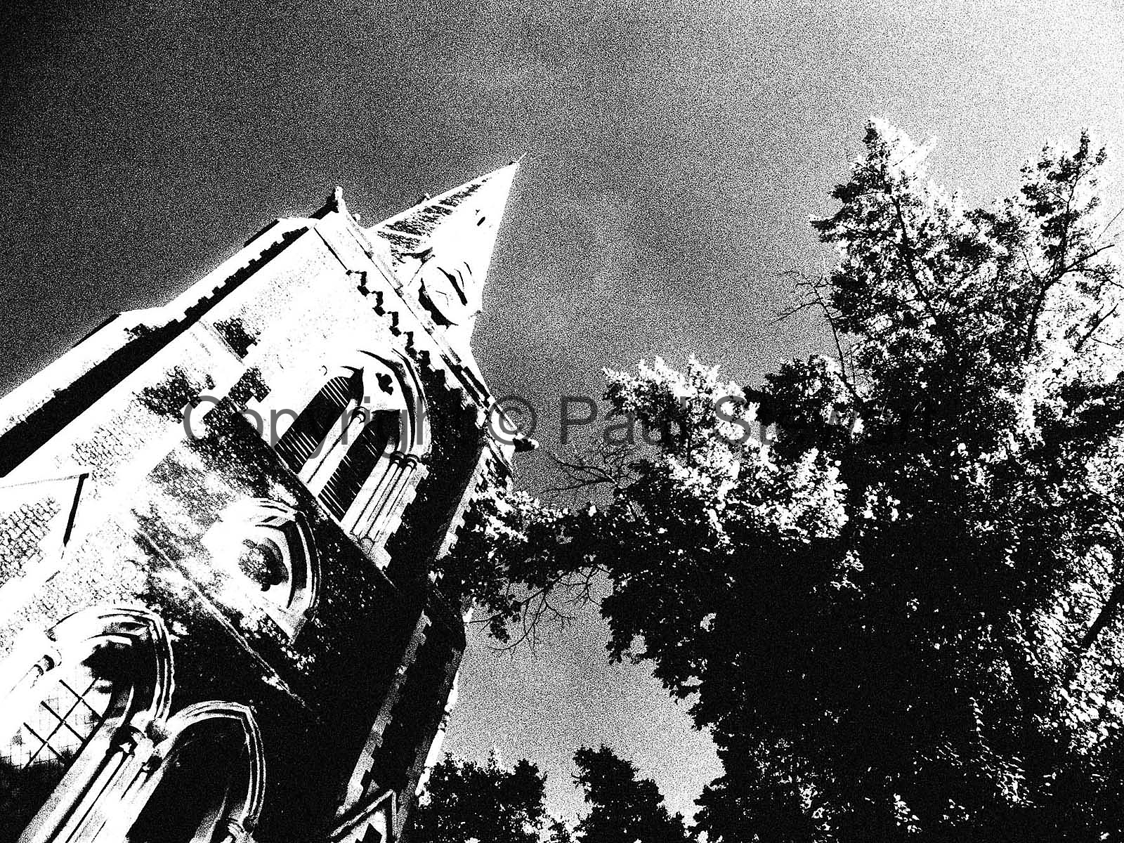 OPS:- Infra red pic of Christ Church, Turnham Green in Chiswick  This image is ©Paul Stewart30/10/04