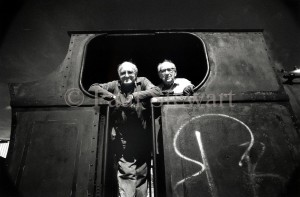 Eddie & Eric - The Last Steam Train July 1996 The last steam train in Londonwith driver Eddie Davies and his stoker Eric Nichols on the footplate of Pecket 2000, a tank engine they helped run for visitors to the North Woolwich Station Museum. This image is ©copyright Paul Stewart and is submitted for inclusion in the BPPA Assignments - The Retrospective book and exhibition. This image may not be used for any other purpose without consent in writing from Paul Stewart. With regard to CDP 1988 Paul Stewart asserts his moral rights with respect to this work